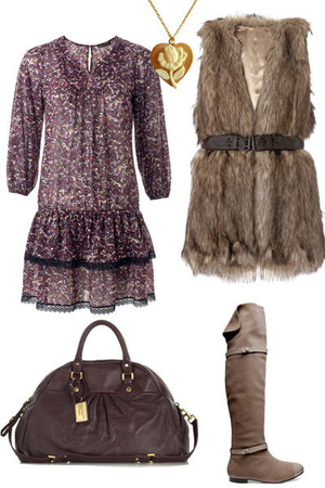 Mango dress - brown hazel boots - brown Marc by Marc Jacobs purse - brown Mango