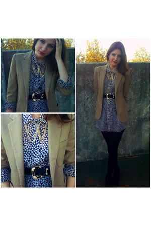 camel vintage blazer vintage blazer - navy dior shirt