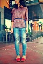 silk blouse Zara blouse - skinny jeans Armani Exchange jeans