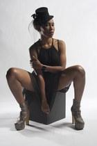 python Jeffrey Campbell boots - black H&M dress - black le chateau hat