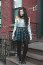 Silver-urban-outfitters-sweater-teal-plaid-chicwish-skirt