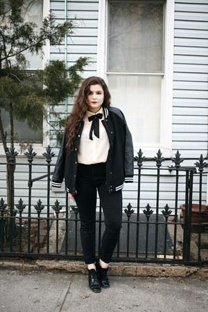 black varsity jacket Forever 21 jacket
