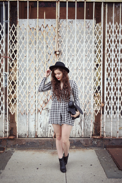 white checkered Boohoo romper - black wool thrifted from Crossroads hat