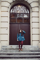 teal Topshop coat - crimson thrifted from Crossroads tights