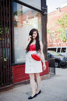 ruby red lip unique vintage bag - off white denim H&M skirt