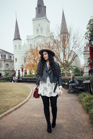 black free people boots - ivory floral free people dress