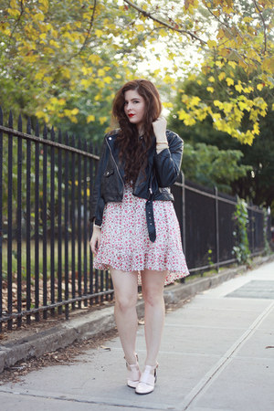 pink floral others follow dress - black motorcycle Missguided jacket