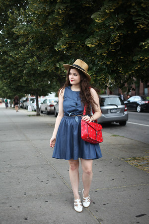 red anchor print PepaLoves bag - blue denim PepaLoves dress