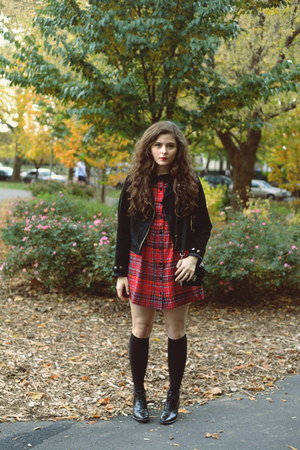 ruby red plaid Motel Rocks dress - black croc Rachel Comey boots