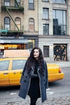 gray grey kling coat - black black Missguided dress