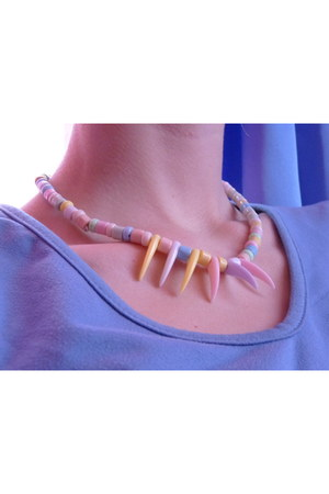 light pink unknown necklace - sky blue unknown blouse