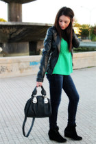 black Tally Weijl shoes - navy Zara jeans - black Zara jacket