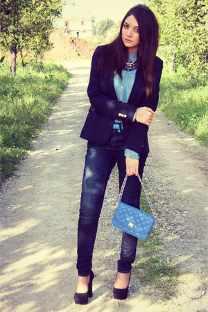 pull&amp;bear shirt - Tata shoes - Zara jeans - Zara blazer - Tally Weijl bag