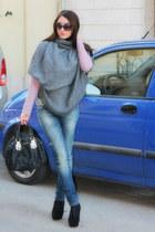 black asos shoes - turquoise blue denny rose jeans - black liujo bag