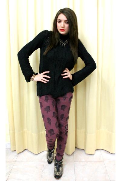 gold Zara shoes - black Zara sweater - brick red Zara pants