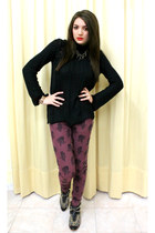 gold Zara shoes - black Zara sweater - brick red Zara pants