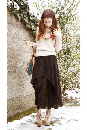 long skirt Zara skirt - very high Jeffrey Campbell boots - big pieces bag