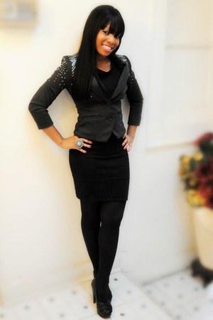 gray H&M blazer - black Forever 21 dress - black Forever 21 shoes - charcoal gra