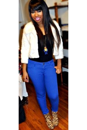 light brown boots - blue Forever21 jeans - white jacket - black Forever 21 shirt