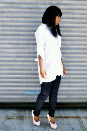 white Q collection blouse - navy Forever21 pants