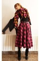 vintage skirt - HyM scarf - MNG belt - hazel boots - Guess