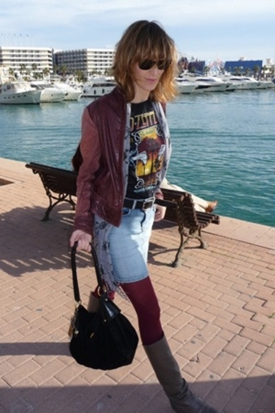 Led Zeppelin t-shirt - HyM skirt - vintage jacket - Pepe Jeans purse - Zara boot