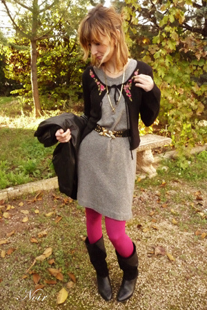 benetton dress - hazel shoes - Zara belt - Calcedonia - Pepe Jeans jacket -