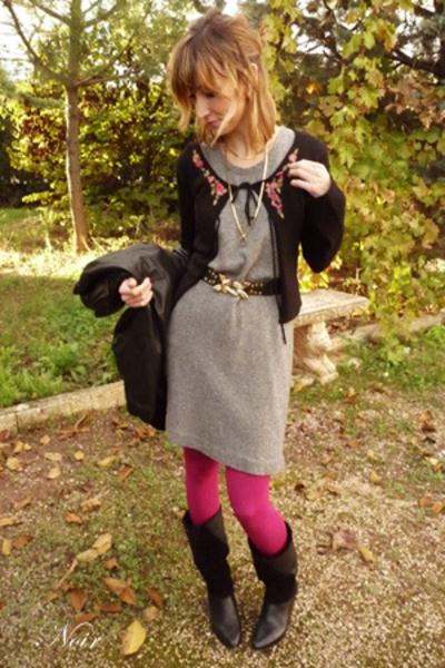 benetton dress - hazel shoes - Zara belt - Calcedonia - Pepe Jeans jacket -