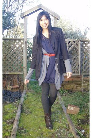black blazer - gray Julies Closet cardigan - blue dress - red belt - gray tights