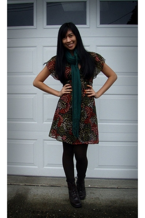 green H&M scarf - orange H&M dress - brown Spanx leggings - brown sporto boots