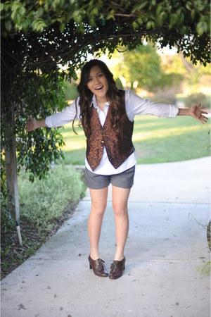 Dockers heels - Charlotte Russe shorts - Grandpa  vest - Walmart blouse
