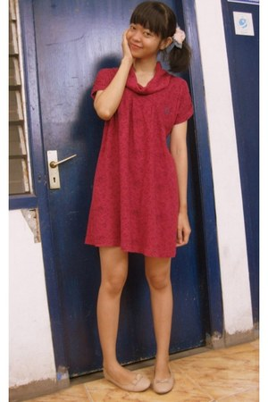 crimson Dress dress - light pink flats flats