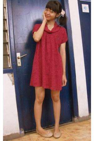 crimson Dress dress - light pink flats flats
