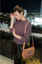 bronze thrifted bag - light purple quilted asos sweater - black asos leggings