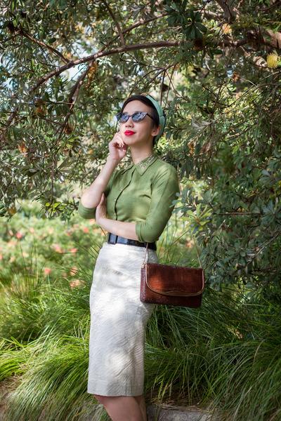 green studded vintage blouse - white lurex vintage skirt