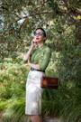 Green-studded-vintage-blouse-white-lurex-vintage-skirt