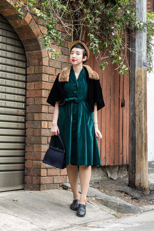 black vintage cape - teal Evelyn Wood dress