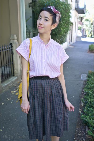 light pink vintage shirt - pink headscarf vintage scarf