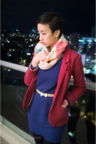 red H&M blazer - black seychelles boots - blue The Casette Society sweater