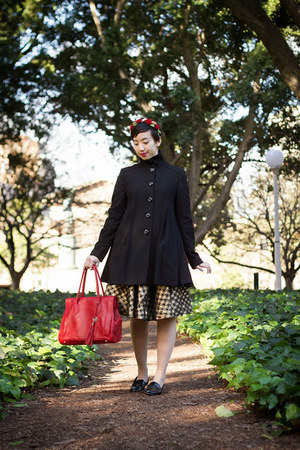 red Avalina Leather bag - tan vintage dress - black asos coat