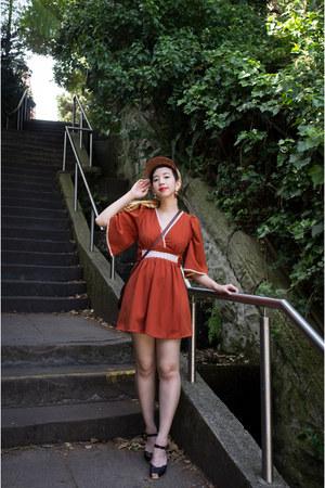 burnt orange vintage dress