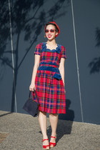 ruby red 1940s tartan vintage dress - ruby red 1940s vintage hat