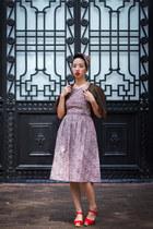 purple vintage dress - dark brown vintage cape - red swedish hasbeen clogs