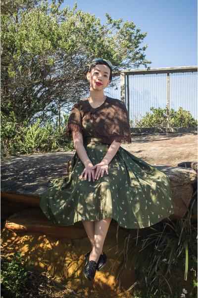 teal vintage dress - brown vintage cape