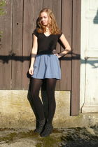 blue Forever 21 skirt - black Bata shoes - black Coop City leggings - black New