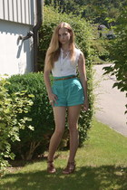 white Topshop shirt - turquoise blue Topshop shorts - brown Bata wedges - silver