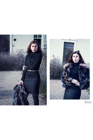 pencil skirt thrifted vintage skirt - fur vintage coat