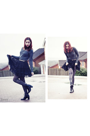 texto boots - thrifted vintage blazer - mytights tights - Matalan skirt