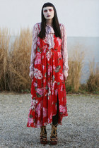 red floral Mango dress - pink bow tie H&M blouse