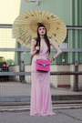 Light-pink-sequins-thrifted-dress-hot-pink-leather-bvlgari-bag
